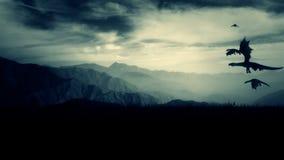 小组龙飞行高在山上的天空 皇族释放例证