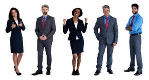 小组5拉丁语和白种人和非裔美国人的商人和女实业家 免版税库存照片
