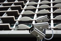 小组CCTV安全监控相机 免版税图库摄影