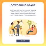 小组Coworking空间横幅的自由职业者 向量例证