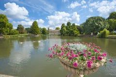 小美好的庭院湖的设置 库存图片