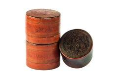 小老古色古香的亮漆商品 免版税库存图片