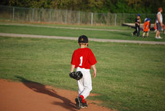 小职业棒球联盟球员走 免版税库存照片