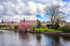 小舒适荷兰村庄春天,美好的白天乡下风景,荷兰 免版税库存图片