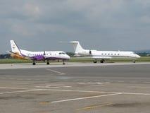 小航空器在机场停放了在俄斯拉发 免版税库存照片