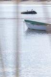 小船、海、海鸥和岩石 免版税库存图片