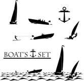 小船、游艇, watherski,风帆冲浪和船锚集合 免版税库存照片