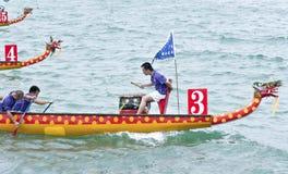小船中国龙种族 免版税图库摄影