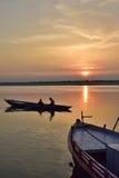 小船乘驾在瓦腊纳西,印度 图库摄影
