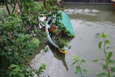 小船事故在buriganga达卡孟加拉国河  免版税库存照片