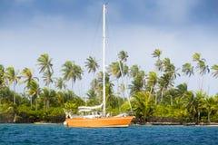 小船停住在加勒比海 库存图片