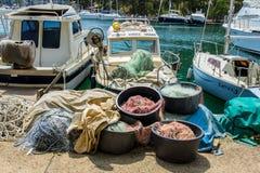 小船克罗地亚捕鱼 免版税库存照片