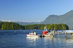 小船加拿大码头海岛tofino温哥华 库存照片