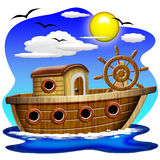 小船动画片捕鱼 图库摄影