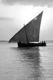 小船单桅三角帆船航行 库存图片