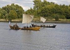 小船历史vestival北欧海盗 免版税库存图片