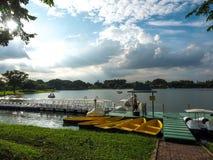 小船和天鹅在Rama乘坐9的湖在曼谷 免版税库存图片
