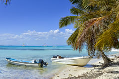 小船和棕榈树在异乎寻常的海滩在热带海岛 免版税库存照片