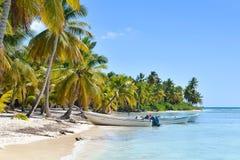 小船和棕榈树在异乎寻常的海滩在热带海岛 库存照片