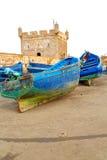 小船和海在非洲老摩洛哥 免版税库存照片