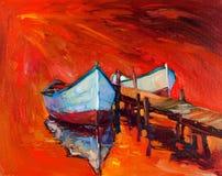 小船和海洋 库存例证