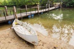 小船在一条小运河停放了在美洲红树forestTh 库存照片