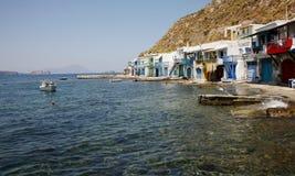小船在传统美丽的渔村 免版税库存照片