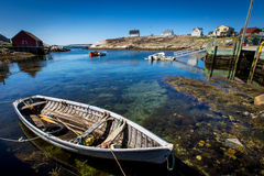 小船在佩吉的小海湾的,新斯科舍港口 库存图片