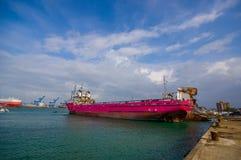 小船在冒号港口在巴拿马 免版税库存照片