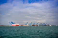 小船在冒号港口在巴拿马 库存图片