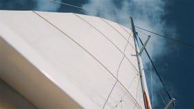 小船在加勒比海的筏风帆有干净的蓝天的 股票视频