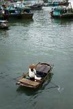 小船在哈隆海湾 免版税库存图片