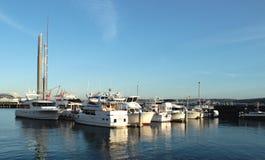 小船在响铃港口小游艇船坞,西雅图 库存图片