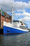 小船在哥本哈根,哥本哈根,丹麦 免版税图库摄影