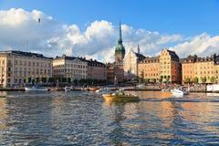 小船在夏天斯德哥尔摩 库存照片