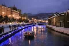 小船在小樽运河浮动 图库摄影