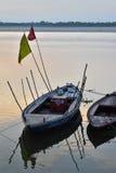 小船在恒河 免版税库存图片