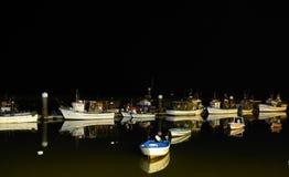 小船在晚上 库存照片