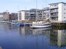 小船在欧登塞港口 库存图片