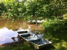 小船在池塘 库存图片