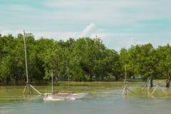 小船在河,菲律宾 免版税库存照片