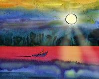 小船在海航行在太阳下 免版税库存图片
