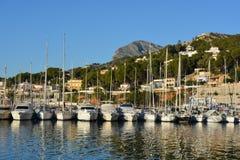 小船在港口,Javea,西班牙 免版税库存图片
