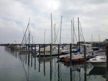 小船在湖的港口 免版税图库摄影