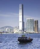 小船在维多利亚港口,香港 图库摄影