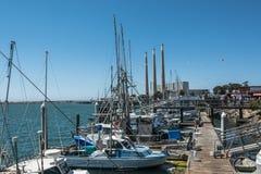 小船在莫罗贝的,加利福尼亚港口 库存照片