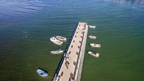 小船在从上面黑海,阿赫托波尔,保加利亚 免版税库存照片