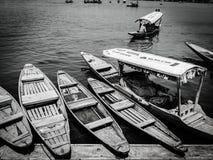 小船在Dal湖,克什米尔 图库摄影