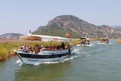 小船在Dalyan游览 免版税图库摄影