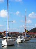小船在Gustavia港口在圣Barts,法属西印度群岛 免版税库存图片